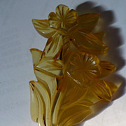Carved Bakelite Daffodil Pin