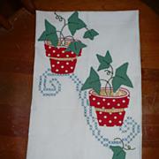 Applique Flower Pot Towel