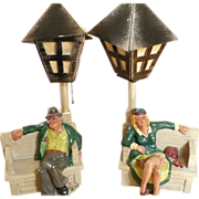 Pair Drunk Man & Lady Lamppost Chalkware lamps