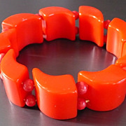 Red Bakelite Stretch Bracelet