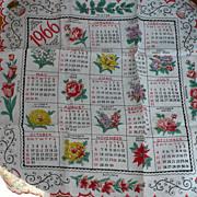 1966 Calendar Handkerchief