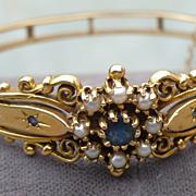 14K Bracelet  Victorian Style Sapphire Pearl