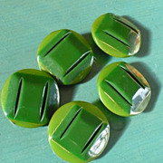 Bakelite Green Buttons Five