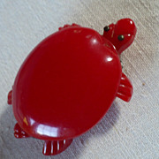 Red Bakelite Turtle Clip