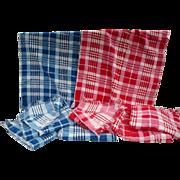 Plaid Towels Red & Blue