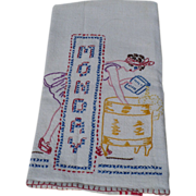 Monday Embroidered Towel