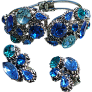 Weiss Blue Rhinestone Bracelet & Earrings