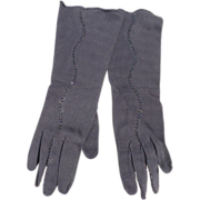 Navy Beaded Gloves 3/4