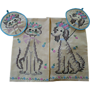 Cat Dog Embroidered Towel & Pot Holder Set