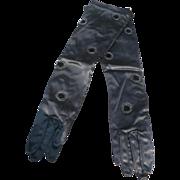 Beaded Black Satin Gloves