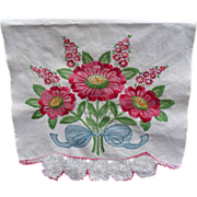 Huck Embroidery Floral Towel