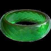 Bakelite Green Facet Bracelet
