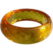 Facet Bakelite Yellow Bracelet