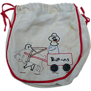 Embroidered Button Bag