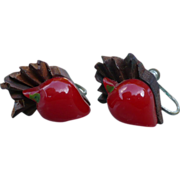 Bakelite Wood Radish Earrings