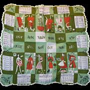 1958 Calendar Handkerchief