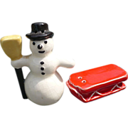 Snowman & Sled Salt & Pepper Set