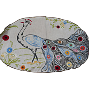 Embroidered Peacock Centerpiece