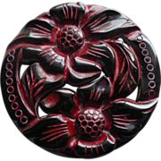 Carved Bakelite Floral Pin