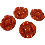 Orange Bakelite Buttons