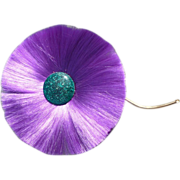 Purple Fiber Flower Pin Hattie Carnegie