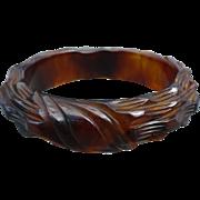 Rootbeer Carved Bakelite Bracelet