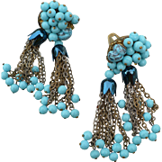 Vintage Turquoise Tassel Earrings