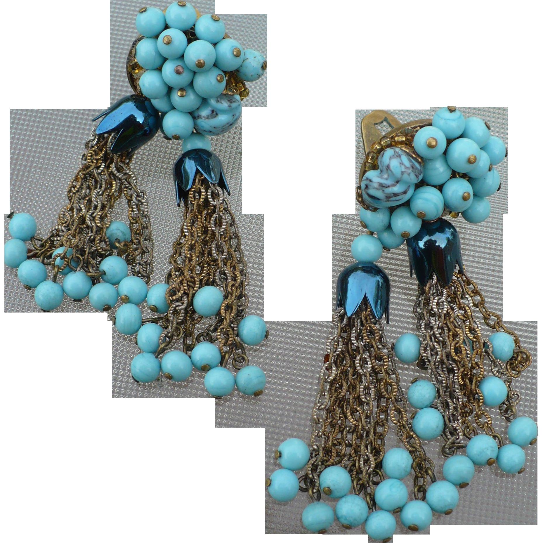 vintage turquoise tassel earrings from looluus on ruby