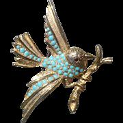Bird Turquoise Pin