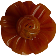 Carved Bakelite Flower Button