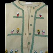 Cashmere Flowerpot Cardigan Sweater