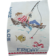 Friday Fishing Embroidered Towel