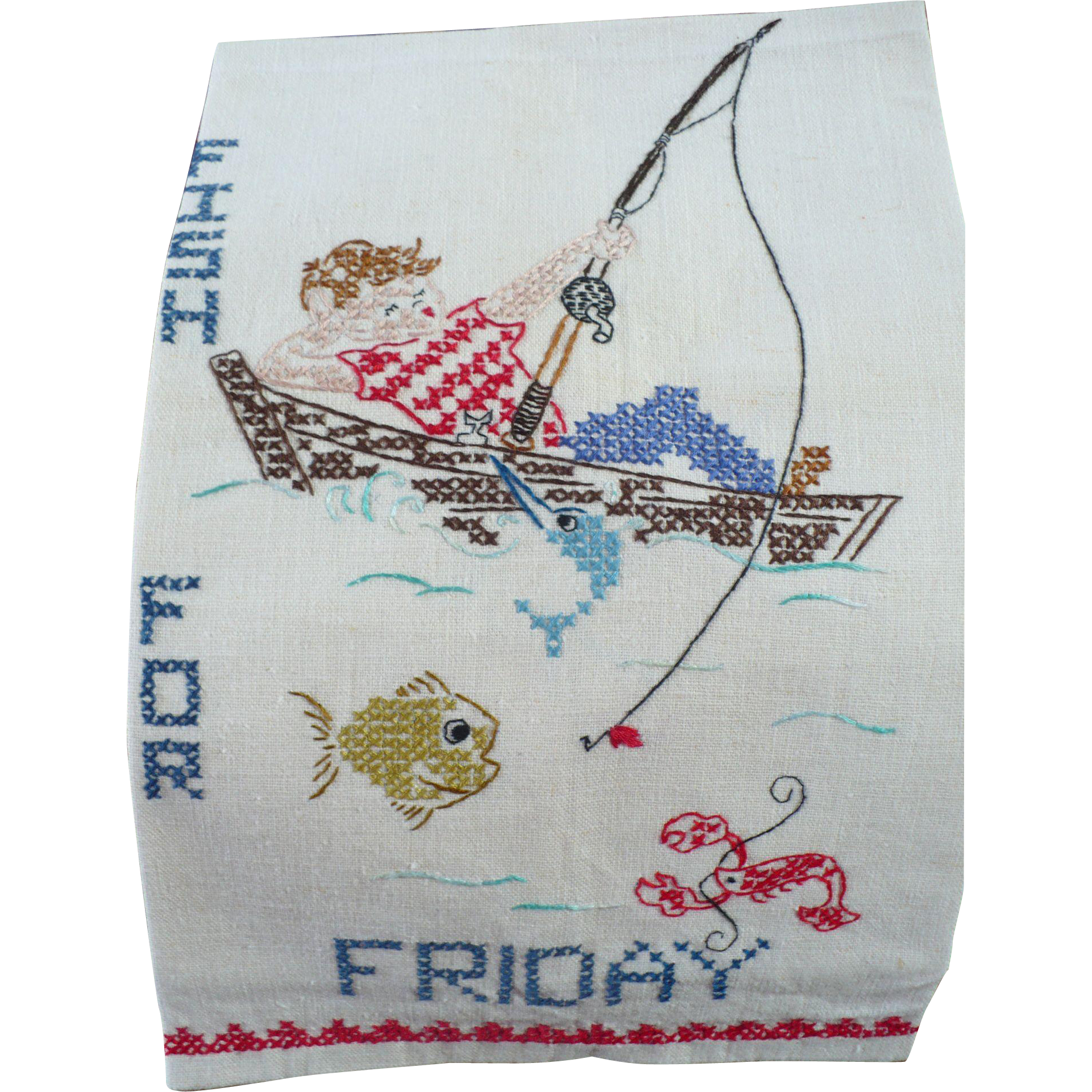 Friday Fishing Embroidered Towel From Looluus On Ruby Lane