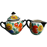 Czech Floral Cream & Sugar