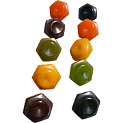 Ten Multicolor Bakelite Buttons