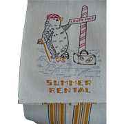 Penguin Embroidered Summer Rental Towel