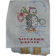 Penguin Embroidered Towel Situation Wanted