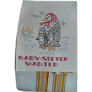 Penguin Embroidered Baby Sitter Towel