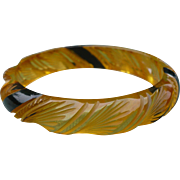 Carved Applejuice Bakelite Bracelet