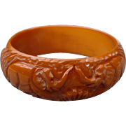 Carved Elephant Bakelite Bracelet