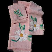 Vintage Terry Floral Towels
