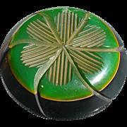 Green Black Carved Bakelite Button