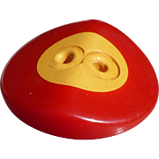 Red Cream Bakelite Button