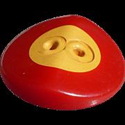 Red Cream Bakelite Button
