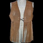 1970's Suede Leather Fringe Vest