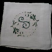 Initial S Handkerchief