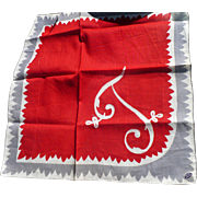 Initial  Handkerchief - Red Tag Sale Item