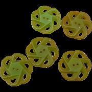 Five Green Bakelite Buttons