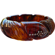 Root Beer Rhinestone Carved Bakelite Bracelet