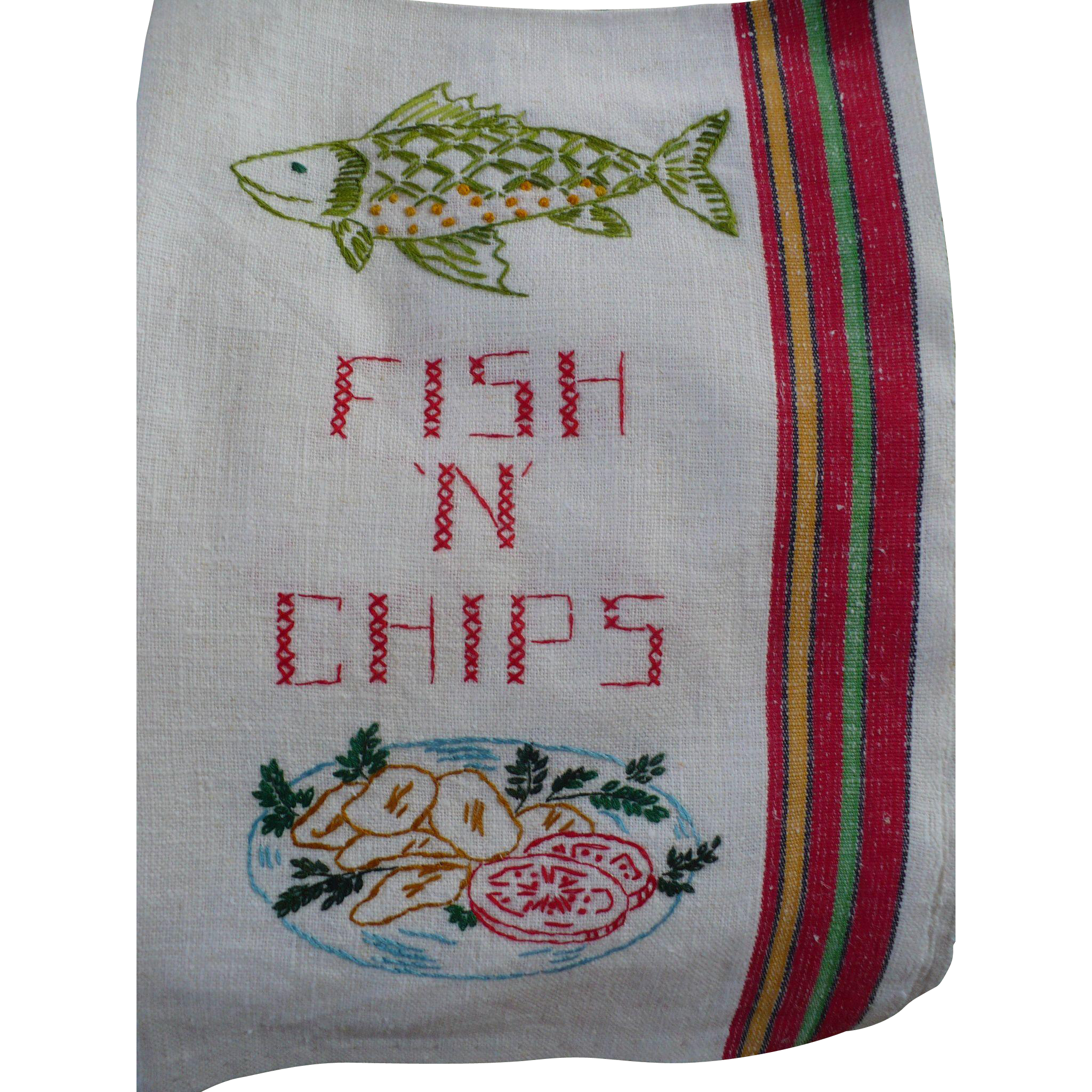 Fish Chips Embroidered Towel From Looluus On Ruby Lane